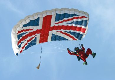 parachute with union jack flag