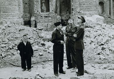 So-called Monuments Men inspecting a destroyed monument