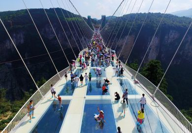Glass-bottom bridge at Zhangjiajie Grand Canyon