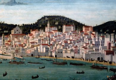 Tavolo Strozzi, painted view of Naples, 1465-87