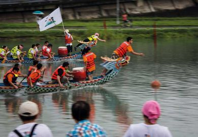 Dragon boat race in Taipei, Taiwan