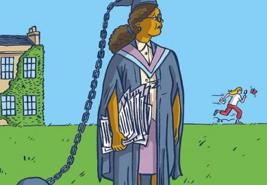 Illustration of woman with ball and chain attached to mortar board