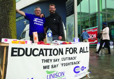 Max Watson (R), UNISON National Executive Council and London Metropolitan University UNISON Branch Secretary, with a fellow union member on the picket line outside London Metropolitan University