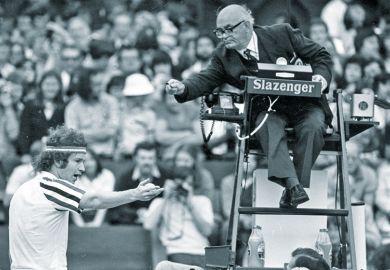 John McEnroe arguing with umpire. Tennis