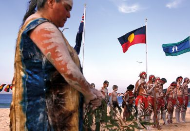 Traditonally dressed Australian Aboriginal performers participate in a 'Corroboree'