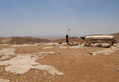 A Palestinian villager in South Hebron hills, West Bank