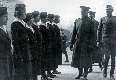 General John Pershing inspects female telephone operators serving in Europe