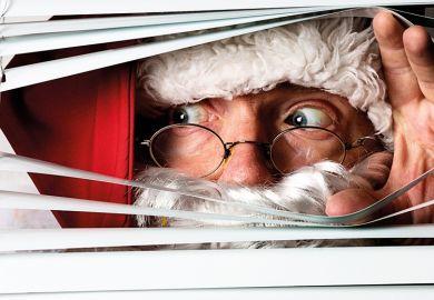 Santa peeping through blinds