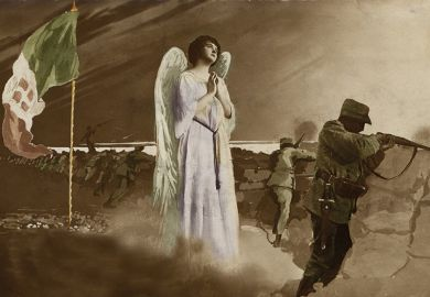 Postcard of soldier in trench with an angel