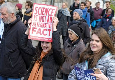 "March for Science. ""Science is not an alternative fact"" placard."