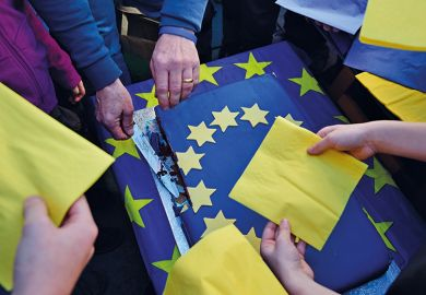 A man cuts a piece of an EU cake