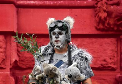"A demonstrator dressed as a ""homeless koala"" attends a climate protest rally in Sydney on December 11, 2019"
