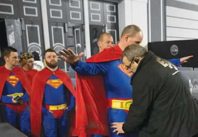 Fans wearing superman fancy dress are searched