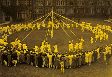 May Pole Dance on college grounds
