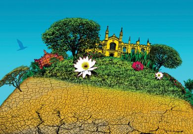Climate change and university illustration