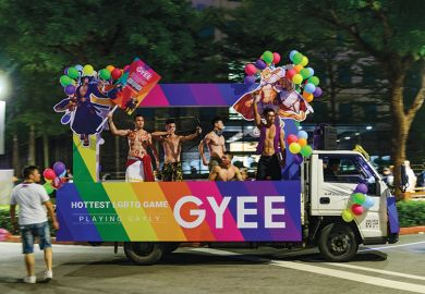 A float  advertising LGBT video games at the Taiwan 2019 LGBT Pride Parade