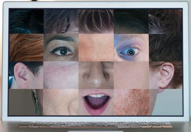 Collage of faces on computer screen