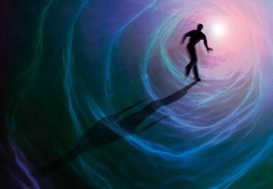 Conceptual artwork representing a near-death experience