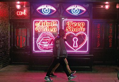 Neon signs on the exterior of La Bodega Negra, Soho, London