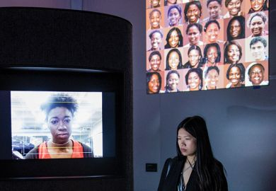 'AI, Ain't I A Woman' by Joy Buolamwini/ The Algorithmic Justice League is displayed as part of the 'AI: More than Human' exhibition at the Barbican Curve Gallery on May 15, 2019 in London