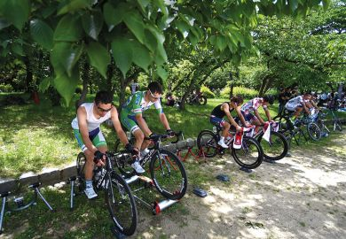 RIders prepare for the opening stage, 2.6km Individual Time Trial in Daisen Park, Sakai. Japan.