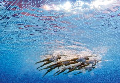 Synchronised swimmers and digital connections composite