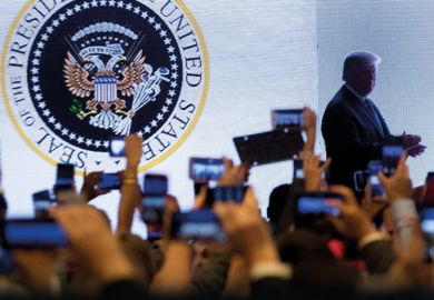 Trump with presidential seal