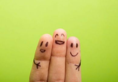 Three fingers which are happy to be friends
