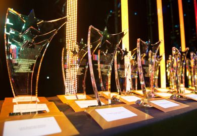 Times Higher Education Awards 2015 trophies