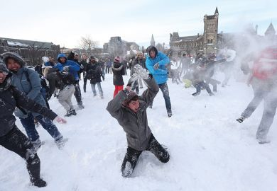 Snow fight in Toronto