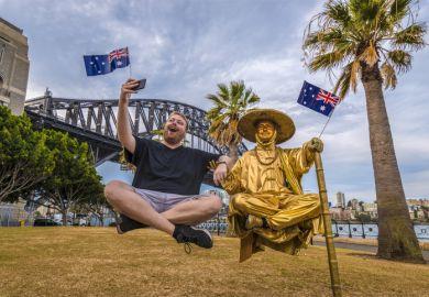 Tourist at Sydney Harbour Bridge