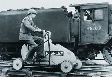 Train and pedal-powered vehicle