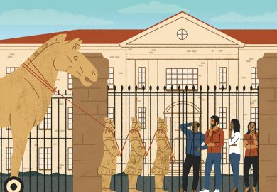 Illustration of a Trojan horse outside a university