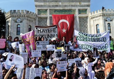 Protest at Istanbul University against bill submitted to Turkish Parliament to spilt up several universities