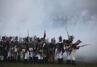 Tvarozna, Czech Republic - December 3, 2011 Re-enactors uniformed as French soldiers attend the re-enactment of the Battle of Austerlitz (1805) near Tvarozna, Czech Republic