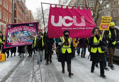 University and College Union members demonstrate during pensions row
