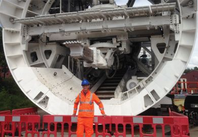 University of Sheffield student with tunnel boring machine (TBM)