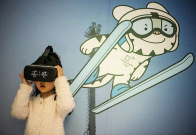 Girl wearing virtual reality headset