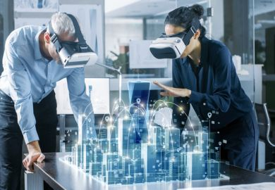 Architects wear virtual reality headsets