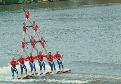 Water ski pyramid