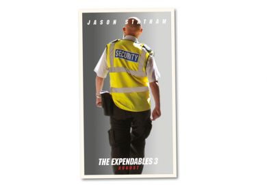 The Expendables 3 poster montage with a security guard