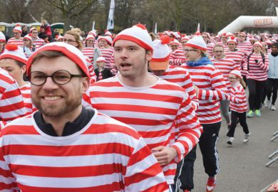 Where's Wally? Fun run for National Literacy Trust as a metaphor for complete PhD coverage for lecturers 'undesirable'