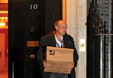 Dominic Cummings carries a box as he departs from number 10 Downing Street in London, U.K as UKRI is 'paying price for loss of Dominic Cummings