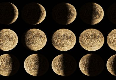 Rows of coins with gradual shadows to look like the moon as a metaphor for Is there a catch to the UK's  promised £22bn for science