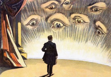 Person standing on a stage facing an audience of eyes illustration as a metaphor for an expert practitioner  taps into 'the dangerous energy of all those watching eyes