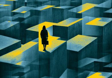 concept image of a woman standing in a maze of large confusing blocks.