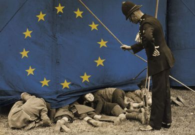 A policeman talking to a group of boys who are sneaking a look a show with the EU flag on the curtain.