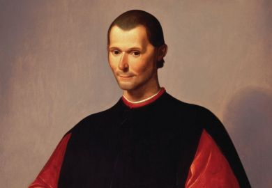Painting of Niccolo Machiavelli by Santi di Tito with a blue bird in hand