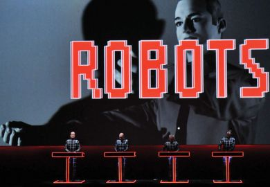 Ralf Hutter, Henning Schmitz, Fritz Hilpert and Falk Grieffenhagen, of German electronic pioneers Kraftwerk, perform live on stage during the first night of their Catalogue retrospective at the Tate Modern Turbine Hall