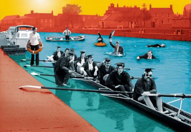 Graduates in rowing boat with people in suites in the water